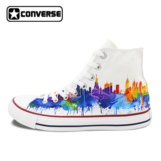 913a52c8d3ed ... coupon code for colourful usa chicago skyline original converse all  star men women shoes white custom ...