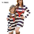 V-TREE Mother Daughter Dresses Family Look Deer Striped Clothes For Mother And Daughter Outfits Dress Family