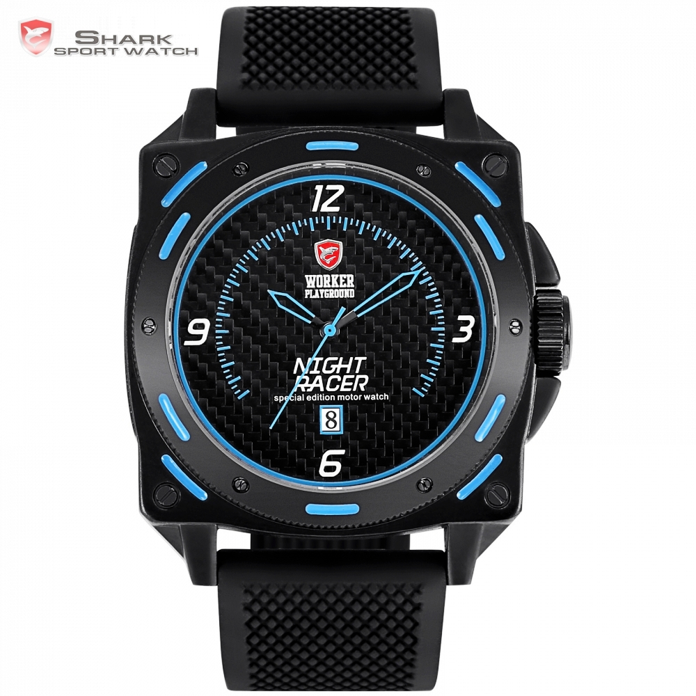 Night Racer SHARK Sport Watch Black Blue Shiny Dial Rubber Band Date Analog Quartz Fashion Mens Male Wrist Watches + Box /SH602 creative rotation dial black rubber band strap men quartz wrist watch fashion business style turntabble pattern women male watch