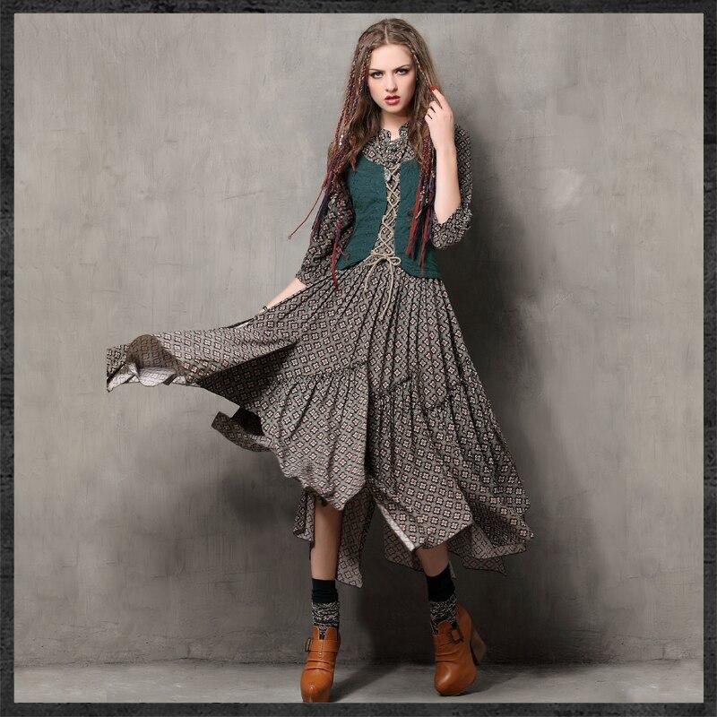 Femmes printemps automne Vintage robes robe ethnique col Mandarin une ligne femme Maxi robe broderie Bandage Vestidos J2949 - 2