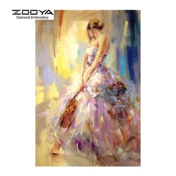 Zooya diamant borduurwerk 5d diy diamant schilderen art vrouw viool diamant schilderen kruissteek strass decoratie cj500
