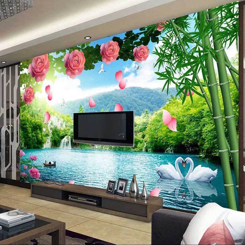 Online buy wholesale bamboo wall mural from china bamboo for Bamboo wall mural wallpaper