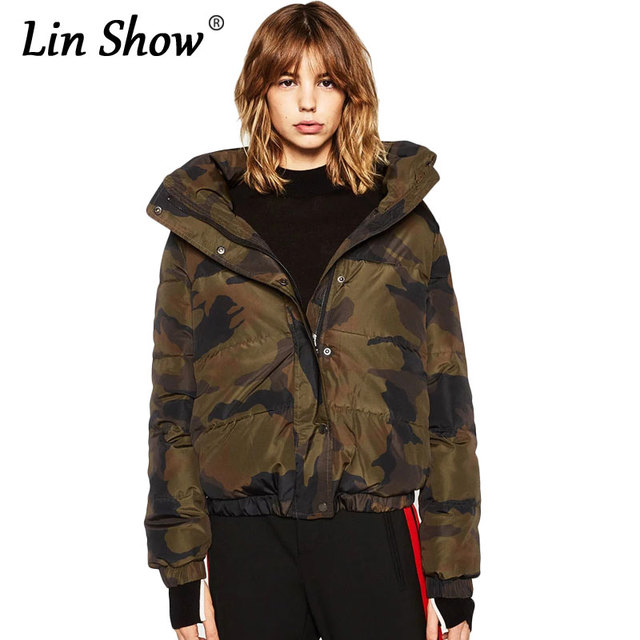 fe93febd979c4 LINSHOW Back Letter Print Camouflage Women Down Jackets 2016 Winter Warm  Outwear Coats Fashion Army Green Ladies Bomber Jackets