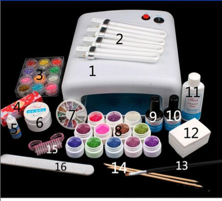 ATT-123 free shipping Pro Full 36W White Cure Lamp Dryer & 12 Color UV Gel Nail Art Tools Sets Kits 2017 hot pro full 36w white cure lamp dryer 12 color uv gel nail art tools set kit