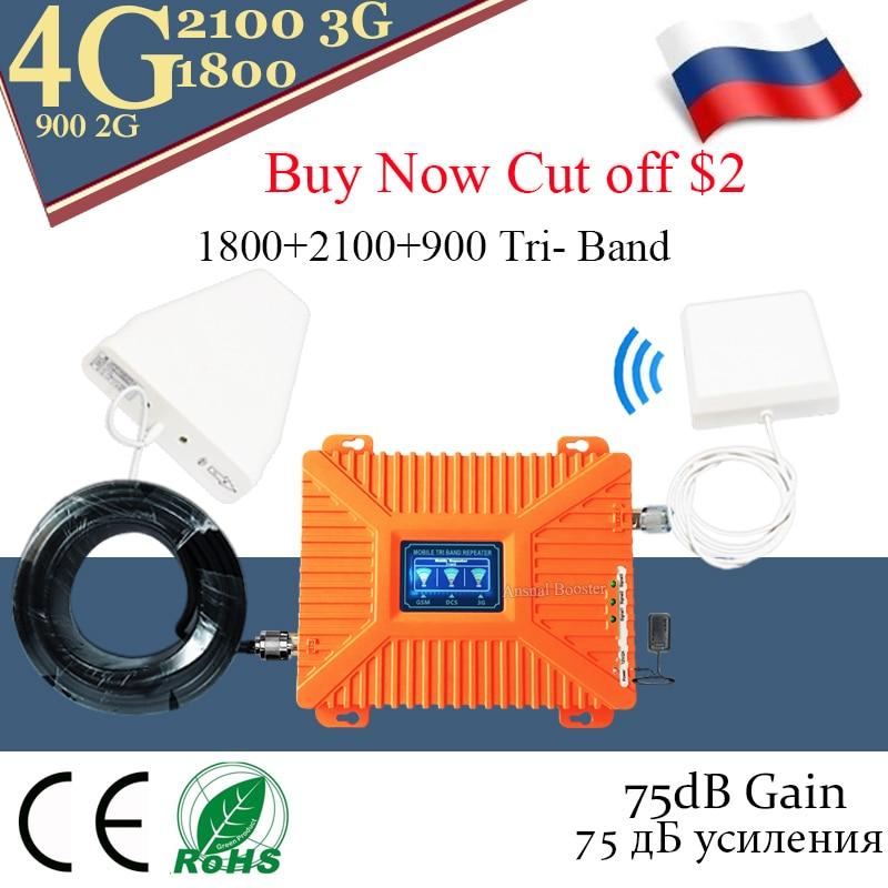 Novo!! 4g repetidor GSM 900 DCS LTE 1800 Telefone WCDMA 2100 Tri-Band de Reforço de Sinal Móvel 2G 3G 4G Celular Repetidor celular