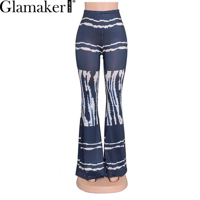 Glamaker alta cintura de impresión sexy pantalones flare pantalones ocasionales flojos elásticos verano 2016 otoño manera de las mujeres largas pantalones delgados