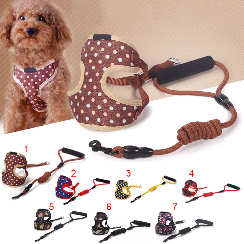 Adjustable Pet Dog Harness Leash Belt Set For Small Dogs Teddy Cloth Traction Rope Hot Sale ...