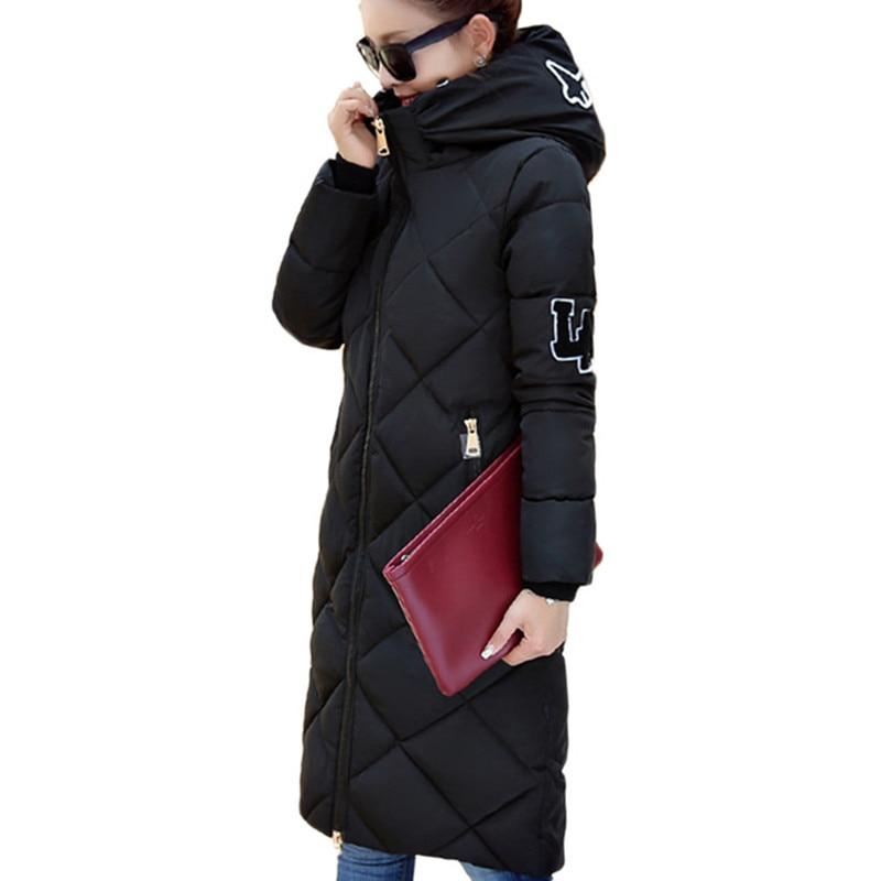 2017 new parkas winter jacket women long padded coats slim hooded cotton...