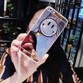 Coreia do gd emoji sorriso bonito dos desenhos animados espelho da tampa do caso para o iphone 7 7 plus SE 5 5S 6 6 S Mais Fundas Gel TPU Macio Pele Capa Para