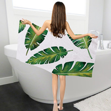 Yilin 100% Polyester square summer beach towels Tropical plants bath for adults towel