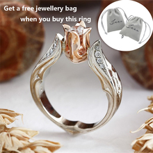 Women Rings Luxury Rose Gold Color Rose Flower Shape Wedding Ring Statement Jewellery Vintage Diamante Accessory with Bag D30 vintage chic diamante solid rose embellished alloy ring for women