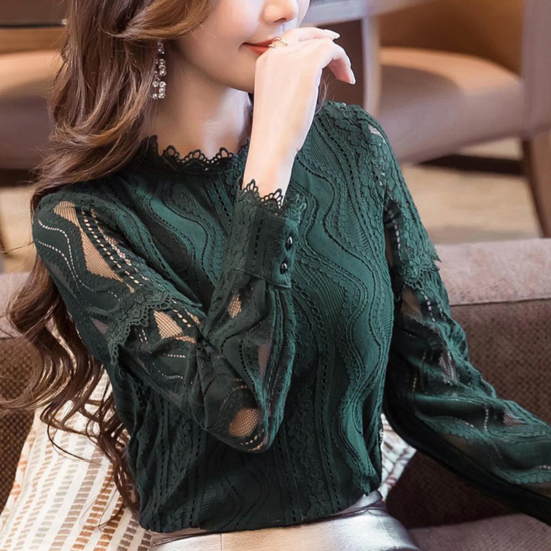Fashion Women Long Sleeve Lace Blouse Shirt Solid Color Hollow Out Female Tops Shirts Plus Size 4XL Women's Clothing