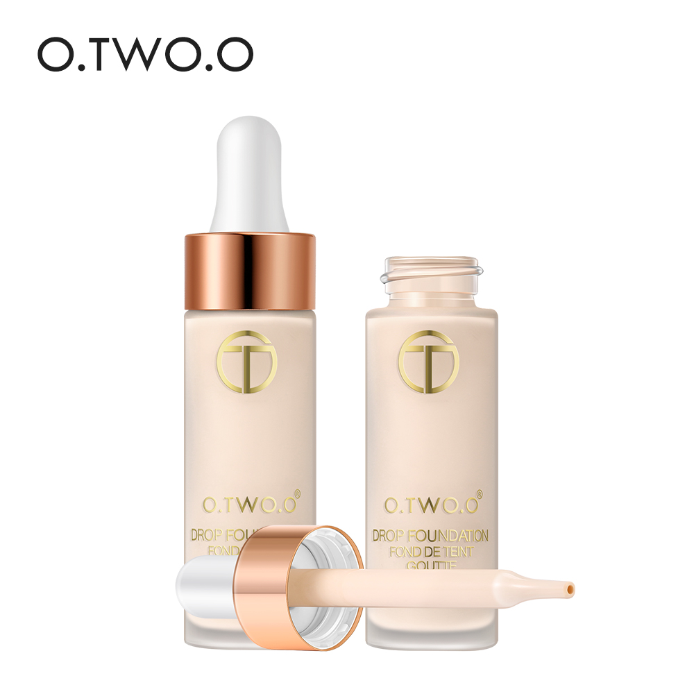 O.TWO.O Waterproof Drop Foundation Liquid Faces Makeup Oil control Concealer Cosmetics Matte Foundation Velvet Texture puff liquid foundation 216