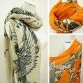 Бесплатная доставка продажа Za новое Trf элегантный полиэстер бежевый и оранжевый цвет иглз длинный мыс шарф платки солнце - вс-затенение шарф