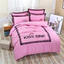 4pcs VS Pink bedding set duvet cover bed sheet bed cover home textile sheets bedding set of bed linen satin bedsheet bedspread