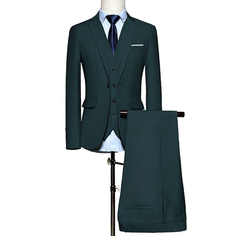 (Veste + pantalon + gilet) 2018 luxe hommes Costume de mariage hommes Blazers Slim Fit costumes pour hommes Costume affaires formel fête classique vert