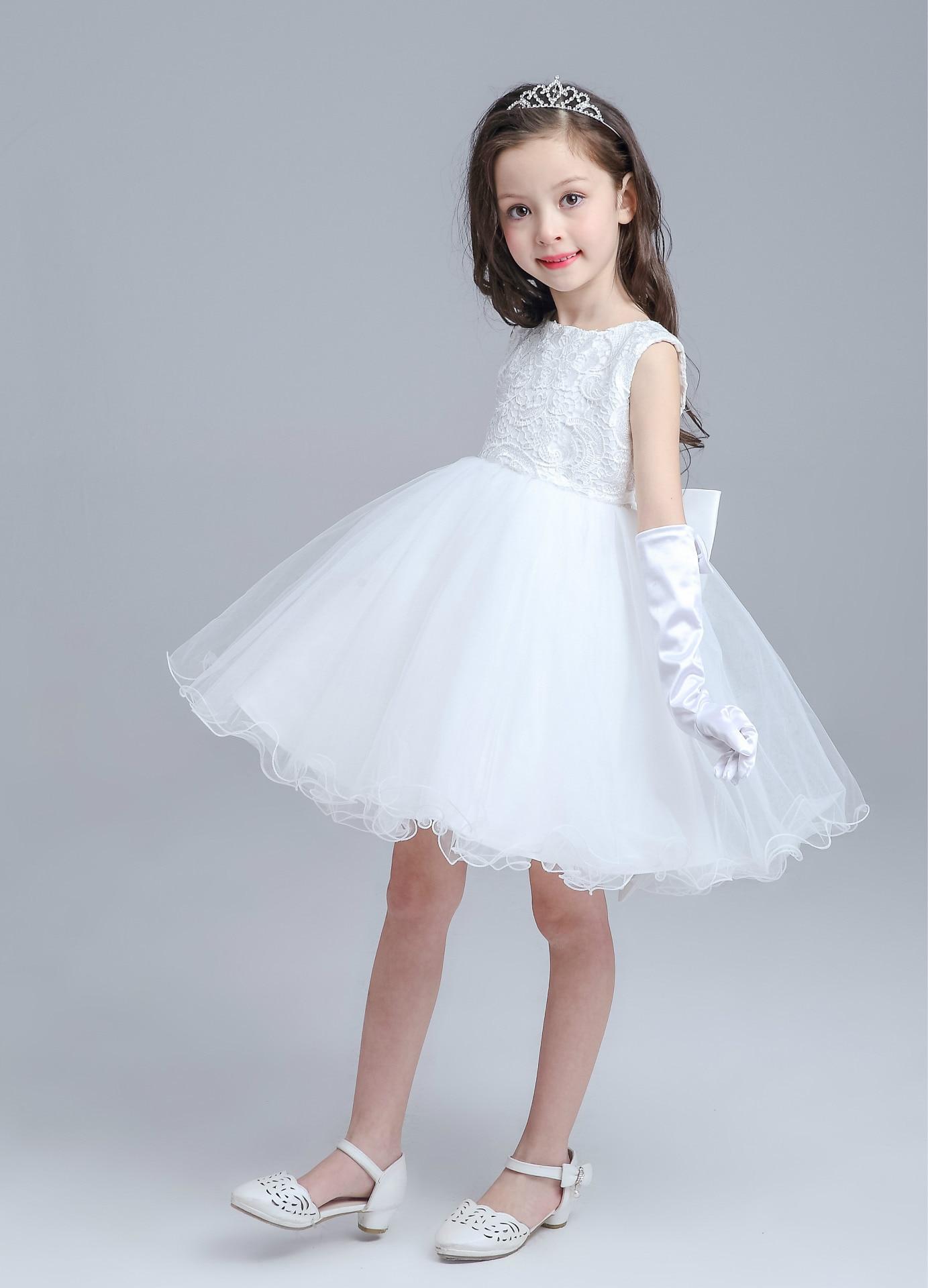 High end Grey Baby Girls Dress For Wedding Princess Big Bow Western ...