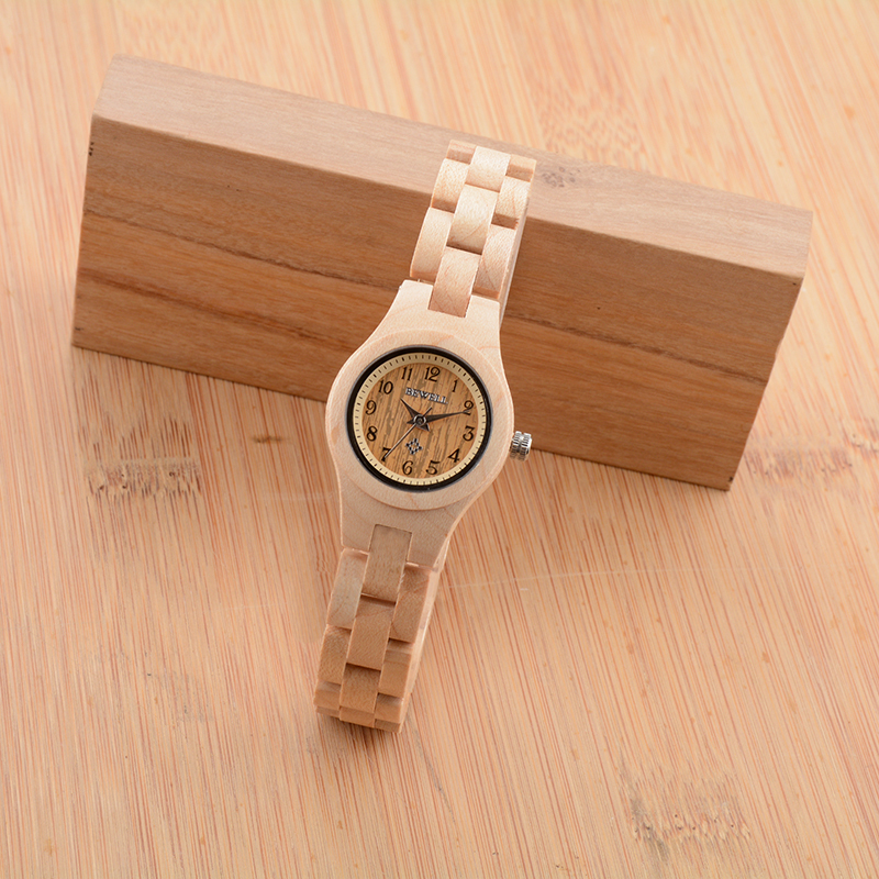 BEWELL Wood Watch Women WristWatch bracelet Fashion Wooden Watch for Girls very Small and Simple 123A