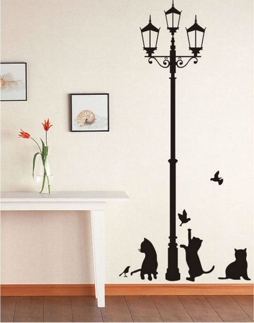 removable black cats lamps house decor wall stickers diy novelty adhesive wall art waterproof vinyl scrapbooking