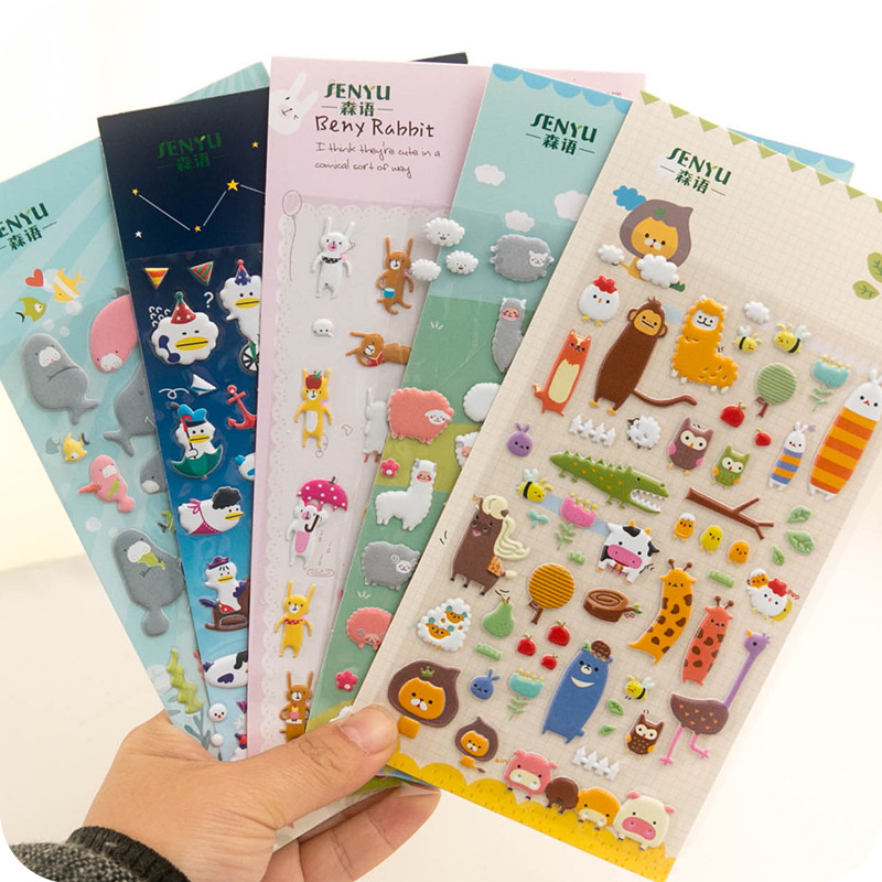 5PCS Different DIY 3D Cute Cartoon  Stickers Toys Animals Pegatinas Funny Toy For Children On Scrapbook Phone Laptop Gifts