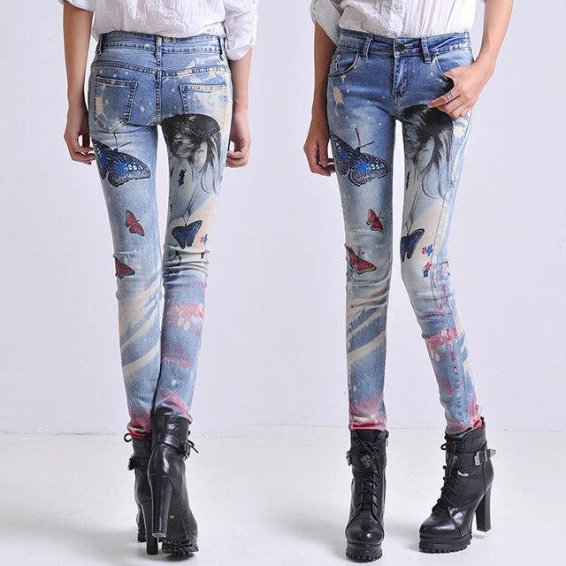 a01fdb68172 Черные длинные джинсы женские повседневные узкие брюки для девочек потертые  Стразы Горячая Бурение Печать узкие длинные