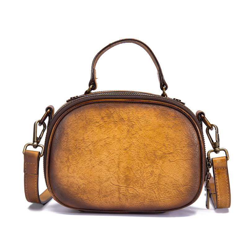 New Small Shoulder Messenger Crossbody Bag Circular Purse Vintage Summer Tote Handbag Genuine Leather Women Top
