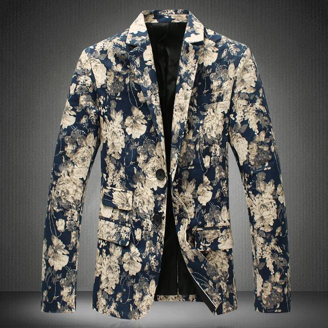 Más el Tamaño M-5XL Chaqueta de Los Hombres Nuevo Estilo de Impresión de La Moda Otoño Ocasional vestido Delgado Hombre chaqueta de los hombres traje hombres floral blazer Chaqueta de la Capa