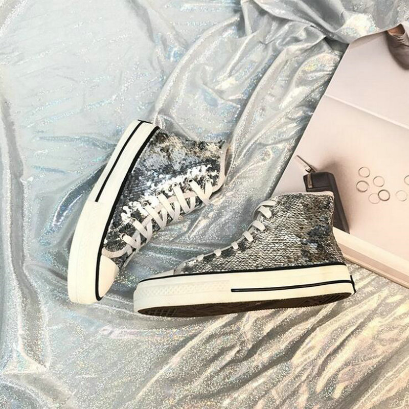 Tleni 2018 New High Top White Women Flats running Shoes Ladies Canvas Shoes lace-up Bling Bling sneaker shoes ZK-20 2