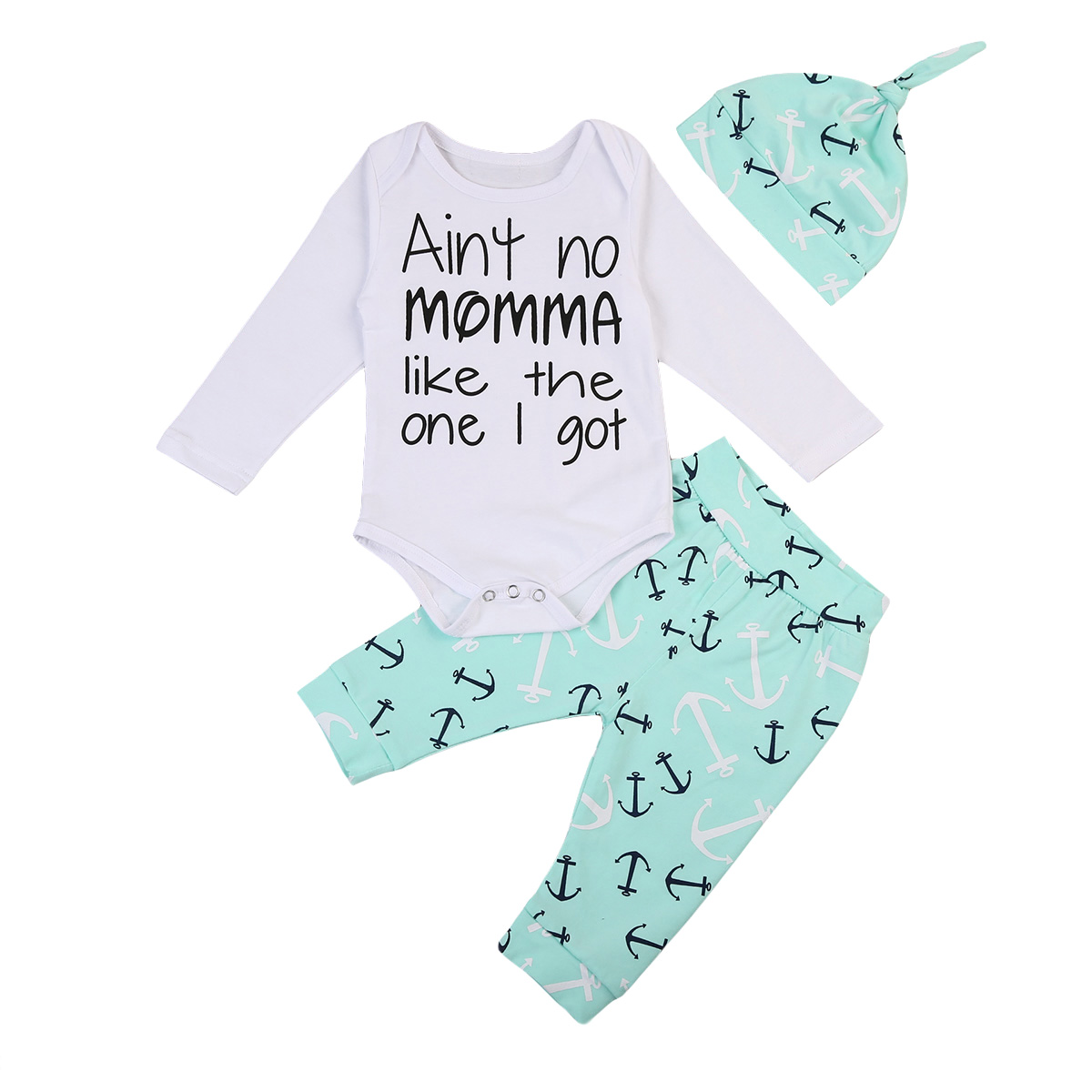Cheap Baby Clothes Au Au 3pcs Newborn Baby Boys Anchor Outfits Print Letter Long Sleeve Romper Jumpsuit Pants Legging Outfits Clothes