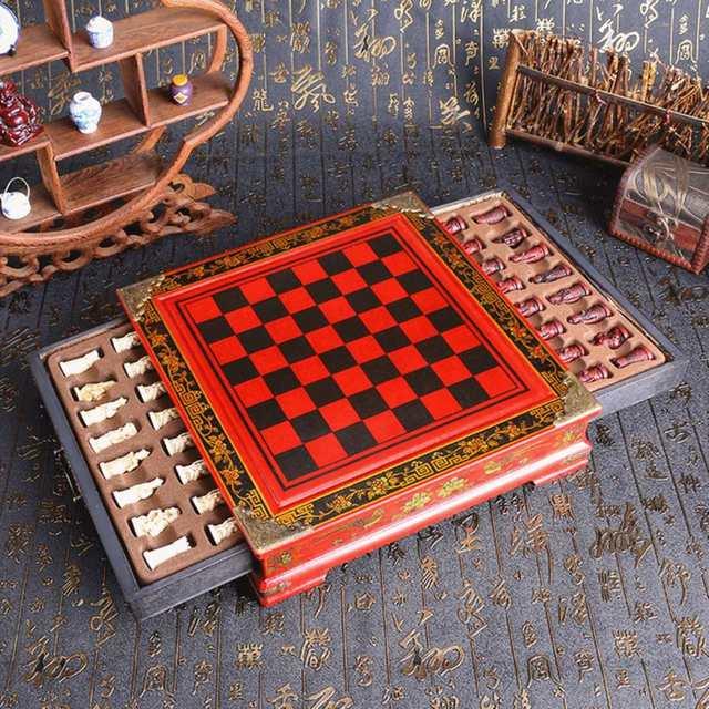 32 pièces/ensemble bois échecs chinois rétro terre cuite Chessman échecs bois faire vieux sculpture résine Chessman anniversaire cadeau de noël 2
