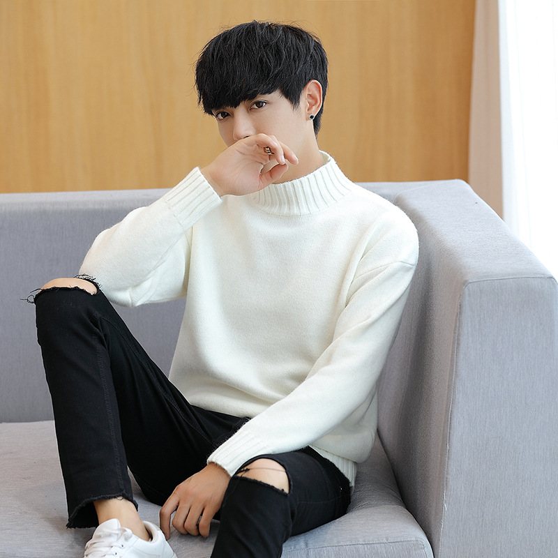 COCO New 2019 Autumn Pure Color Turtleneck Youth Men's Cultivate One's Morality Sweater