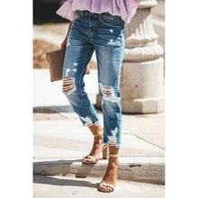 купить!  Женские джинсы-скинни с высокой талией и рваными джинсами Femme Узкие рваные джинсы-джинсы Лучший!