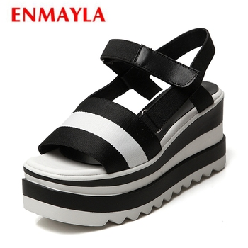 ENMAYLA  Cotton Fabric  Gladiator  Casual  Women Sandals Summer 2019 Hing Heel Wedges Shoes for Women Size 34-39 LY1173