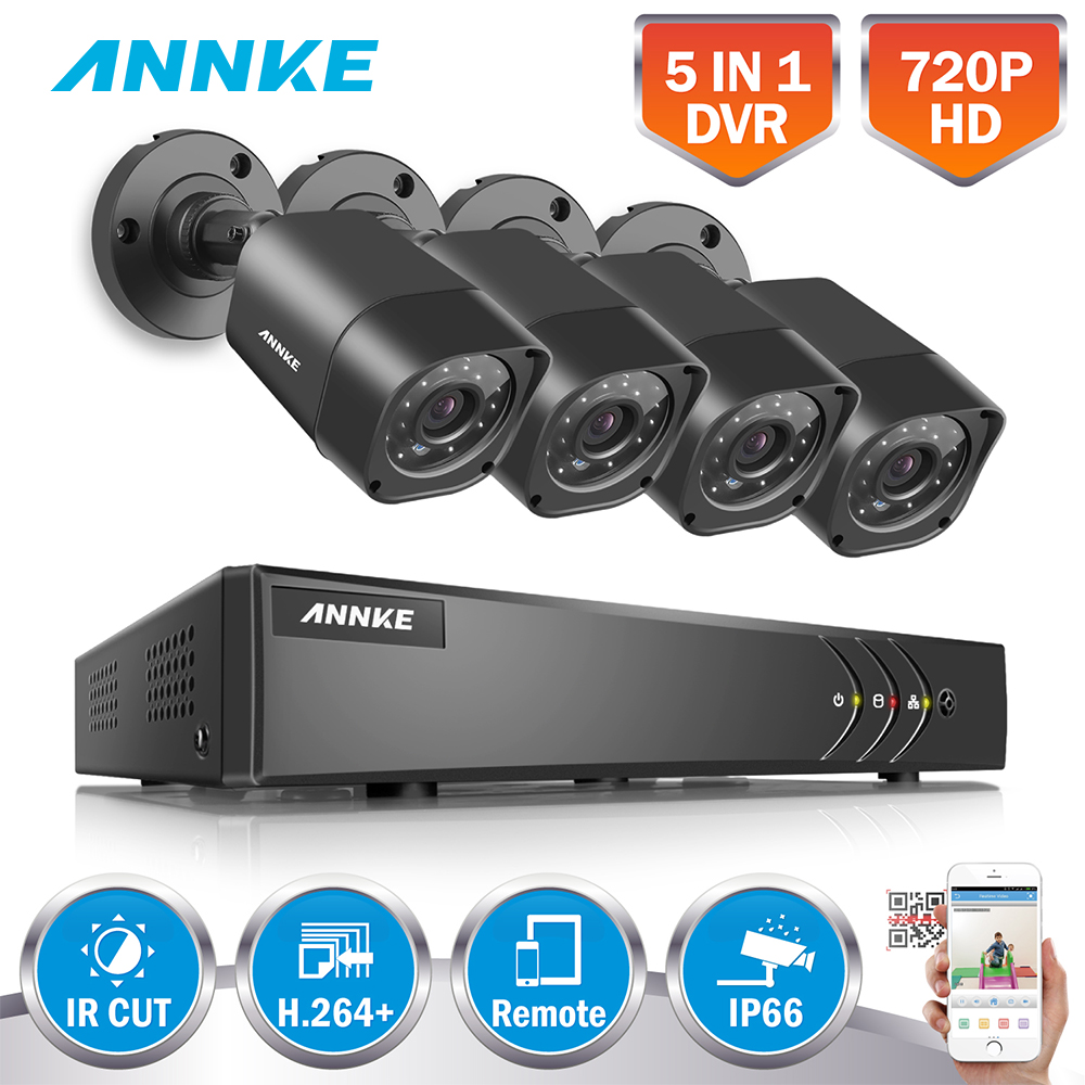 ANNKE 4CH 720P 5 IN1 Security DVR System HDMI 1280 720 1500TVL 1MP TVI Weatherproof font