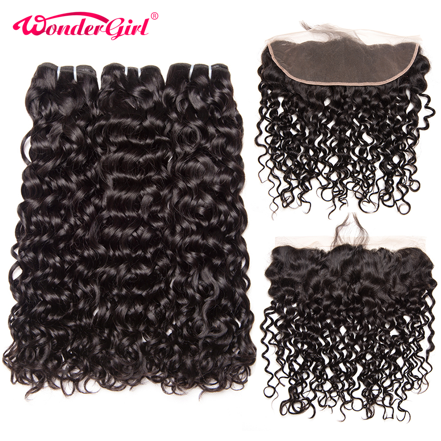 Peruvian Water Wave Bundles With Frontal 13x4 Lace Frontal Closure With Bundles Remy Human Hair Bundles With Closure Wonder girl