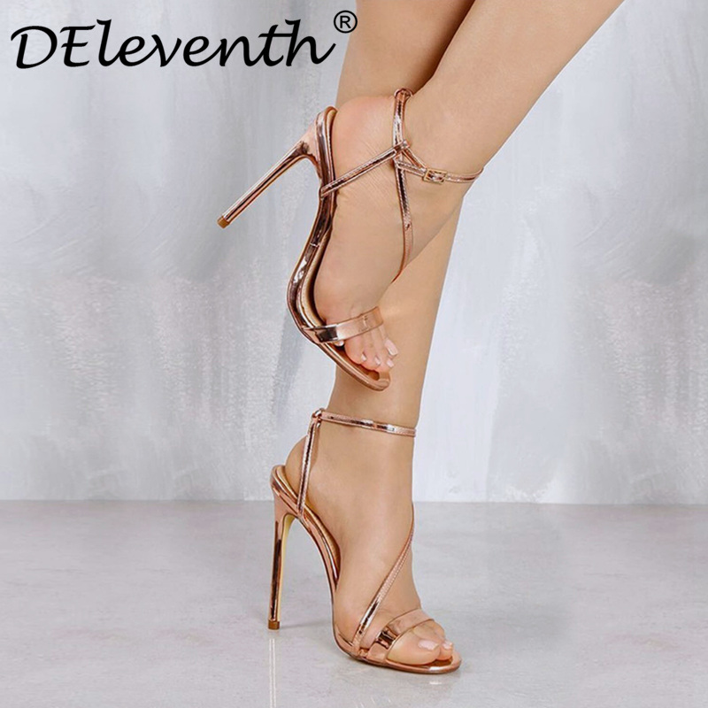 Sexy Elegance Brand design Peep toe Buckle strap Glittering Thin high-heeled sandals shoes Women Gold Wedding Bride Shoes Nude 8