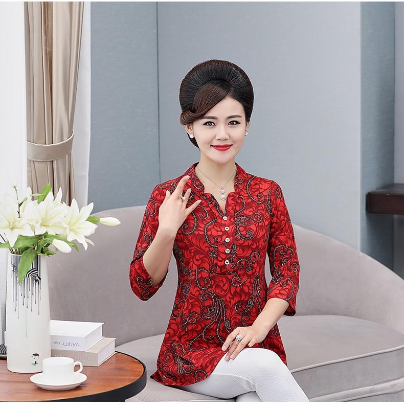 Women Flower Chiffon Blouses Three Quarter Sleeve Crepe Top Woman Peplum Tunic Red Green Print Shirt Plus Size Blouse Lady Shirt Spring (7)
