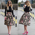 Vintage Womens Elegant Floral Skirts Stretch High Waist Skater Flared Pleated Casual Midi Skirt 2016 Hot Selling