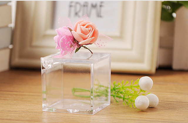 Set Of 12pcs Clear Acrylic Cube Box Plastic Transpa Gift Wedding Storage