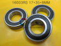 16003RS  1Piece bearing 16003 16003RS 17*35*8 mm chrome steel deep groove bearing
