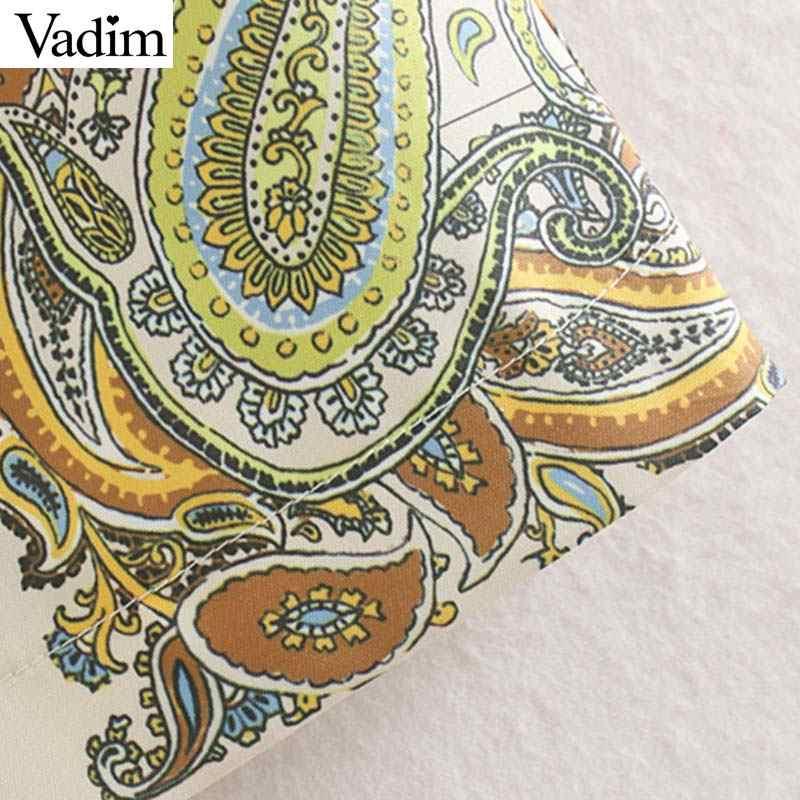 Vadim femmes élégant paisley imprimer mini robe sans manches O cou droit style femme décontracté confortable élégant robes vestidos QC524