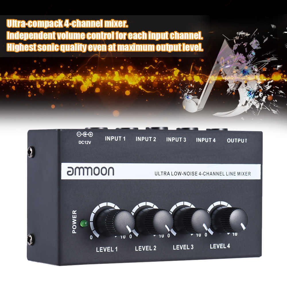 Ammoon MX400 4 ערוצי מיקסר ערבוב קונסולת קומפקטי נמוך רעש קו מונו אודיו מיקסר עם כוח מתאם