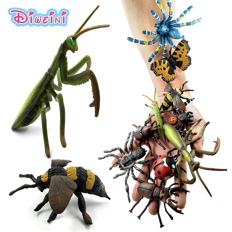 Simulation Animals Model Insect Stag Beetle Spider Honeybee Wasp Ladybird Mantis Butterfly Decoration Figure Toys Gift For Kids