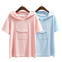2016 Korean Women Summer School Style Letter Pocket Candy Color Hoodies T Shirts Sky Blue Pink