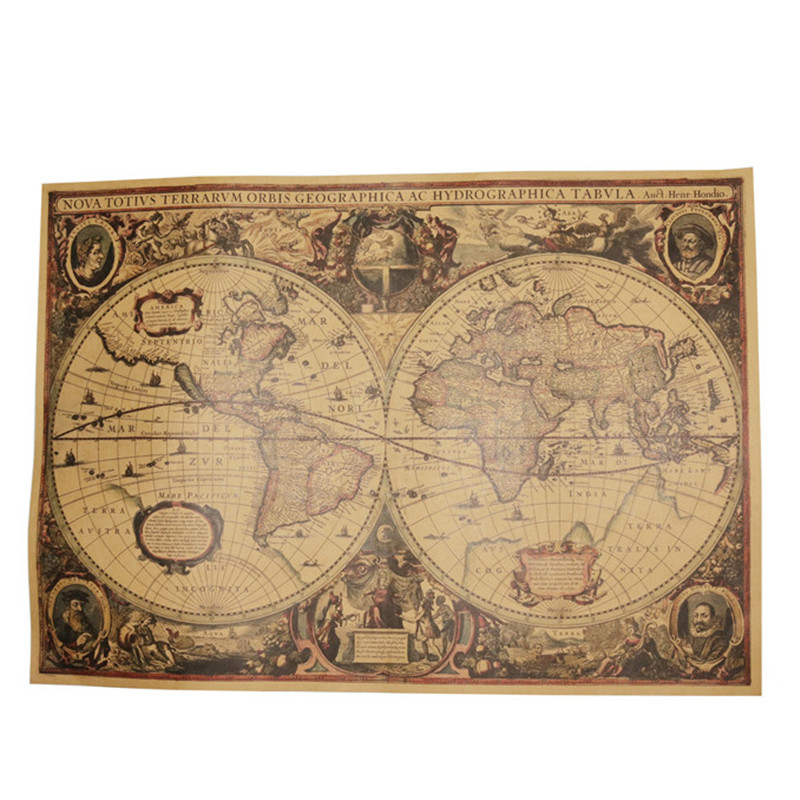 2 Pcs Classic Vintage Kraft Paper Poster World Map Poster Home Decoration Wall Stickers Office Decoration Map Poster World