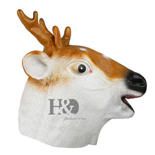 H&D Deluxe Latex Full Head Animal Stag Deer Reindeer Fancy Dress Props Carnival Party Sika Deer Mask(China)