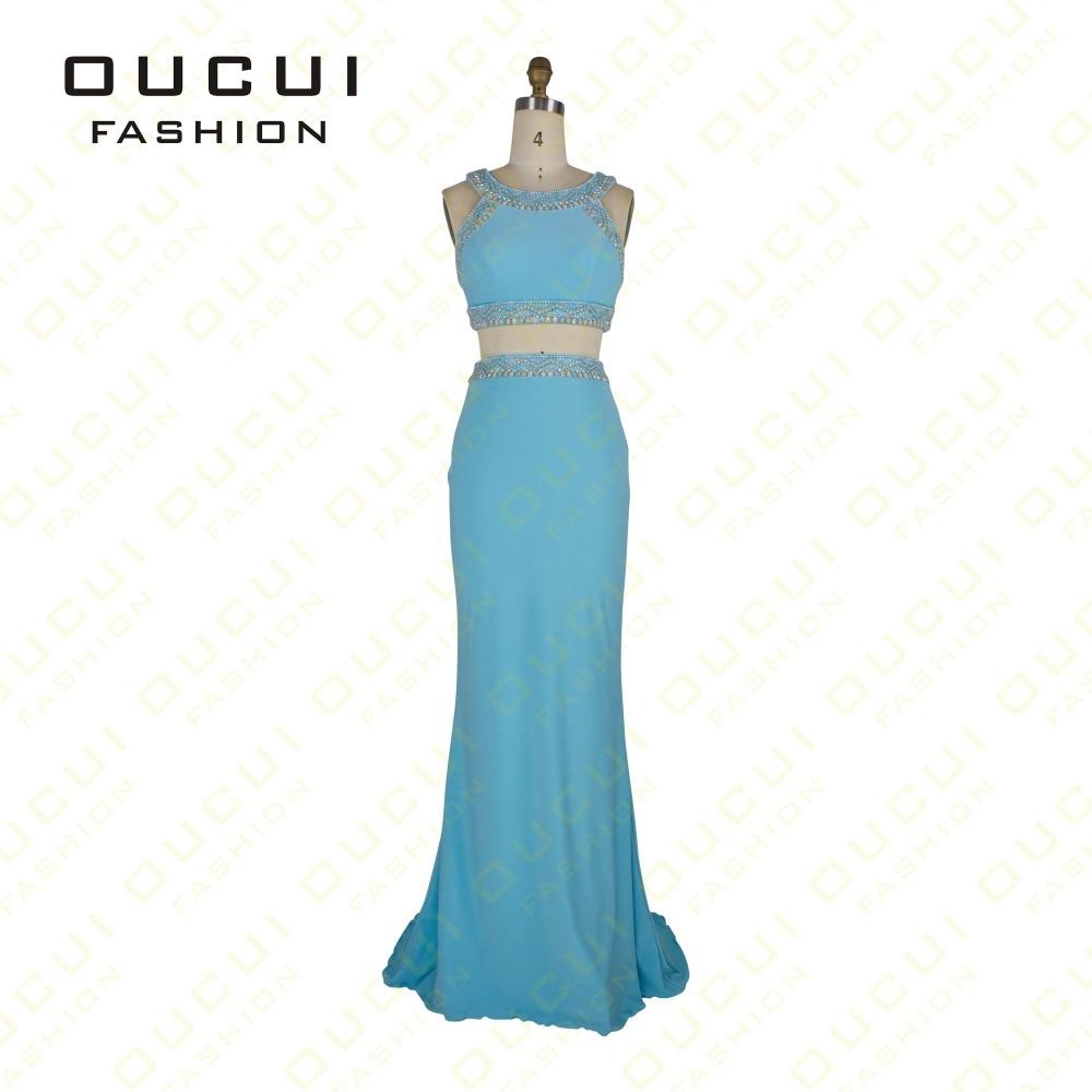 Jersey Fabric 100% Handwork Two Piece vestidos longos Long Prom ...