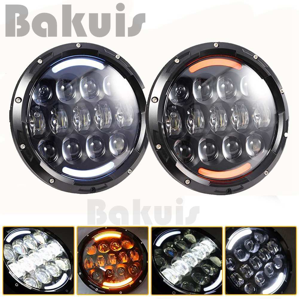 New style Super bright 105W 7 Inch Round LED Headlight with White/ amber Turn Signal DRL for Jeep Wrangler Jk Tj 1 pair 60w 7 inch round led headlight with white amber turn signal drl for jeep wrangler jk tj harley davidson