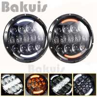 New Style Super Bright 105W 7 Inch Round LED Headlight With White Amber Turn Signal DRL