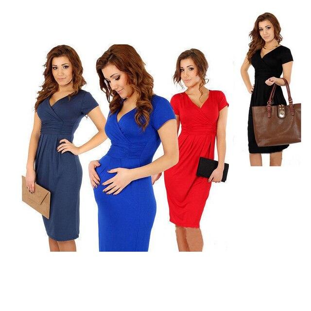 Comfortable Maternity Dress V-neck Pregnant Dress S M L XL Women s Vestidos Plus  Size Nursing Clothes Black Red Blue 7eb556c1e9fe